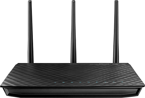 Asus - N900 Dual-Band Wireless-N Gigabit Router with 4-Port Ethernet Switch - Black