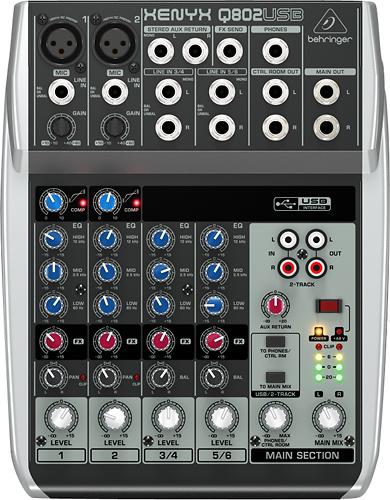 Behringer - XENYX Q802USB 8-Input 2-Bus Analog Mixer - Silver