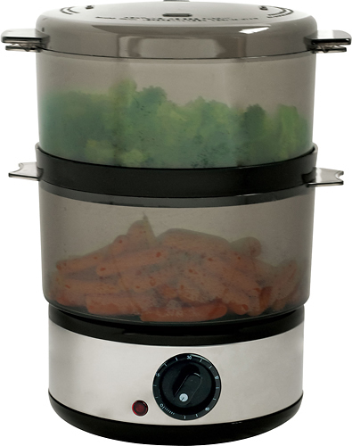 Trademark - 4-Quart Food Steamer - Silver/Clear/Black