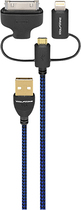 WolfWire - 3' 3-in-1 Lightning, 30-Pin and Micro USB Charge-and-Sync Cable - Black/Blue