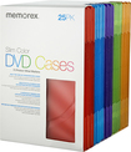 Memorex - 25-Pack Color Slim DVD Storage Cases - Assorted