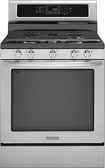 "KitchenAid - 30"" Self-Cleaning Freestanding Gas Convection Range - Stainless-Steel"