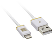 Platinum - 4' Lighting Charge-and-Sync Cable - White/Gold