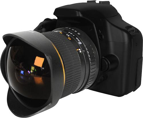 Bower - 8mm f/3.5 Ultrawide Fish-Eye Lens for Nikon AE DSLR Cameras - Black