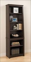 Prepac - Ashlin 6-Shelf Slant-Back Bookcase - Espresso
