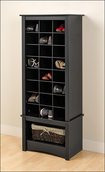 Prepac - Tall Shoe-Storage Cubby Cabinet - Black
