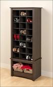Prepac - Tall Shoe-Storage Cubby Cabinet - Espresso¿