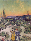 Trademark Art - Landscape with Couple Walking and Crescent Moon by Vincent van Gogh - Multicolor