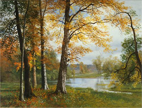 Trademark Art - A Quiet Lake by Albert Bierstadt - Green; Yellow; Orange