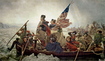 Trademark Art - Washington Crossing Delaware River by Emanuel Leutze - Blue