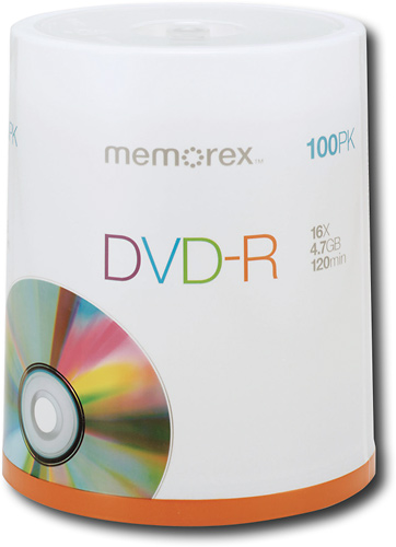 Memorex - 100-Pack 16x DVD-R Disc Spindle