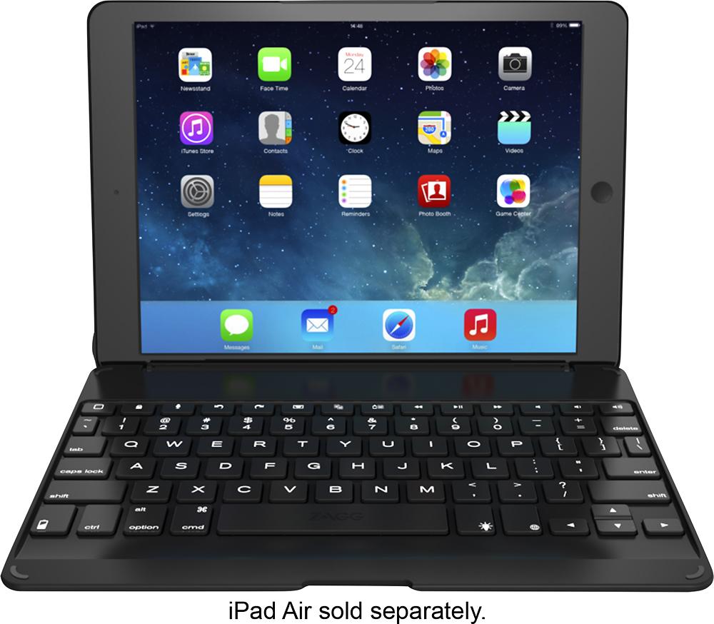 ZAGG - ZAGGfolio Keyboard Case for Apple® iPad® Air - Black