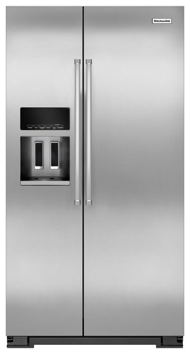 KitchenAid - 19.9 Cu. Ft. Side-by-Side Refrigerator - Monochromatic Stainless-Steel