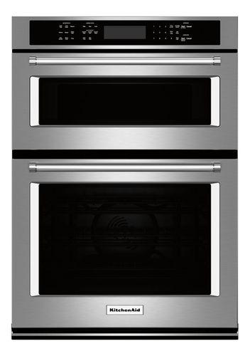 KitchenAid - 27 Single Electric Convection Wall Oven with Built-In Microwave - Stainless Steel