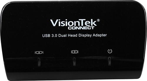 VisionTek - USB 3.0 Dual Display Adapter - Black