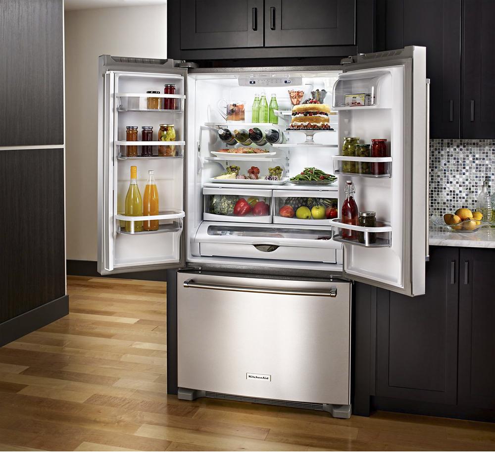KitchenAid - 22.1 Cu. Ft. Bottom-Freezer Refrigerator ...