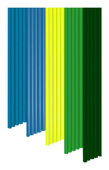 3doodler - 3mm Pla Filaments  - Teal/blue/yellow/green