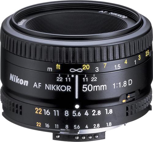 Nikon - AF NIKKOR 50mm f/1.8D Standard Lens - Black