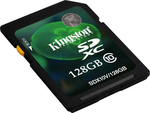 Kingston - 128GB SDXC Class 10 Memory Card - Black