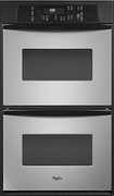 "Whirlpool - 24"" Built-In Double Electric Wall Oven - Stainless-Steel"