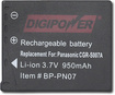 Digipower - Pn07 Rechargeable Lithium-ion Battery For Panasonic Dmc-tz1 Digital Cameras