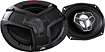 "JVC - DRVN 6"" x 9"" 3-Way Speakers with Carbon Mica Woofer Cones (Pair) - Black/Red"