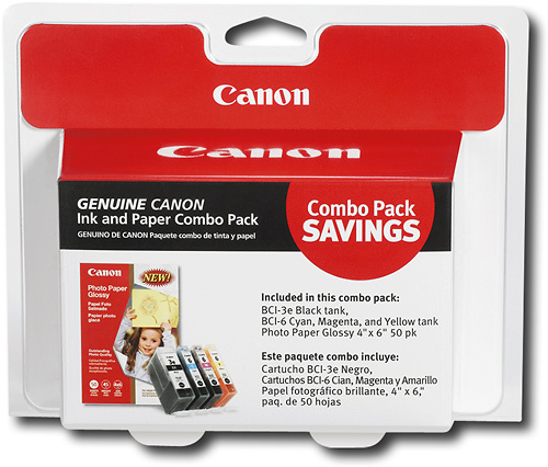 Canon 4479A292 Ink and Paper Combo Pack - 3.95 in x 5.9 in ink tank / paper kit - for i990  9950  PIXMA IP3000  IP4000  iP5000  iP6000  iP8500  MP750  MP760  MP 7087994