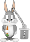 EMTEC - Looney Tunes Bugs 8GB USB 2.0 Flash Drive - Gray/White