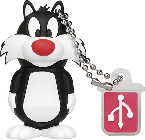 Emtec - Looney Tunes Sylvester 8GB USB 2.0 Flash Drive - Black/White