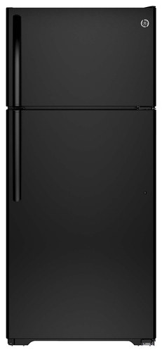 GE - 15.6 Cu. Ft. Frost-Free Top-Freezer Refrigerator - Black