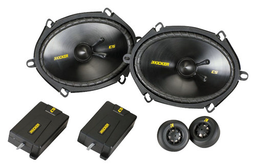 Kicker - CS Series 6 x 8 Component Speakers with Polypropylene Cones (Pair) - Black