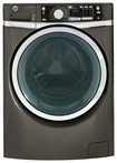 GE - 4.5 Cu. Ft. High-Efficiency Steam Front-Loading Washer - Metallic Carbon