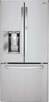 LG - 24.0 Cu. Ft. French Door Refrigerator with Thru-the-Door Ice and Water - Stainless-Steel
