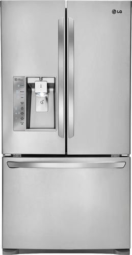 LG - 24.0 Cu. Ft. Counter-Depth French Door Refrigerator with Thru-the-Door Ice and Water - Stainless Steel