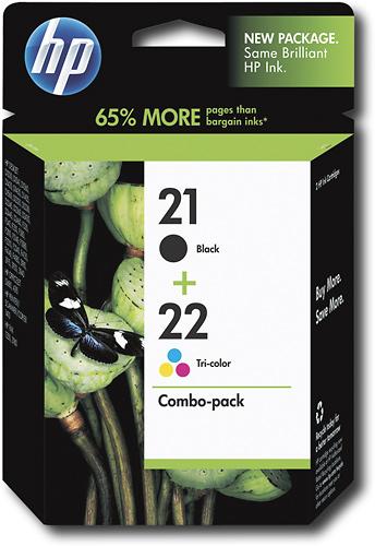 HP - 21 Black/22 Tricolor 2-Pack Original Ink Cartridges - Black, Cyan, Magenta, Yellow