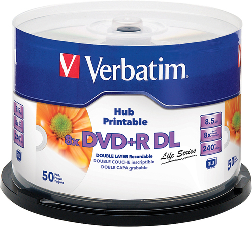 Verbatim - Inkjet Hub 8x Dvd+r DL Disks (50-Pack)