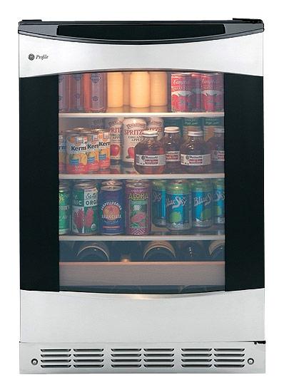 GE - Profile 150-Can 12-Bottle Beverage Center - Black