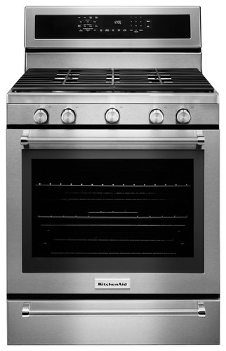 KitchenAid - 5.8 Cu. Ft. Self-Cleaning Freestanding Gas Convection Range - Stainless Steel