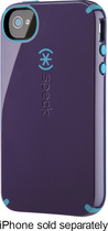 Speck - Candyshell Case for Apple® iPhone® 4 and 4S - Aubergine/Peacock