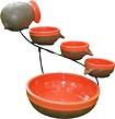 Smart Solar - Solar-Powered 4-Tier Cascading Fountain - Tangerine/Rustic Brown