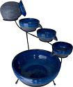 Smart Solar - Solar-Powered 4-Tier Cascading Fountain - Blueberry/Rustic Blue