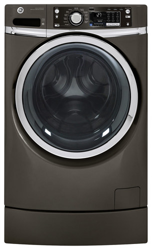 GE - RightHeight 4.5 Cu. Ft. 12-Cycle Front-Loading Washer with Steam - Metallic Carbon