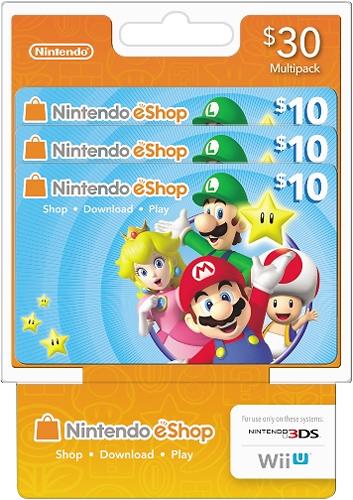 Nintendo - $10 Nintendo eShop Prepaid Cards (3-Pack) - Multicolor