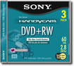 Sony - DVD Rewritable Media - DVD RW - 2.80 GB - 3 Pack - White