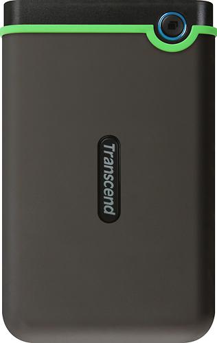 Transcend - StoreJet Rugged Series 25M3 1TB External USB 3.0/2.0 Portable Hard Drive - Gray/Green