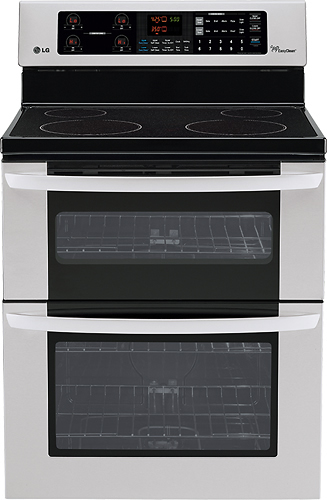 """LG - 30"""" Self-Cleaning Freestanding Double Oven Electric Range - Stainless-Steel"""