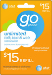 AT&T GoPhone - $15 Prepaid Wireless Airtime Card - Multi