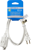 Dynex™ - 4' 3-Outlet Extension Power Cord - White