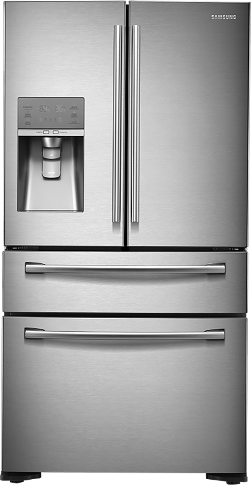 Samsung - 22.6 Cu. Ft. Counter-Depth 4-Door French Door Refrigerator with Thru-the-Door Ice and Water - Stainless Steel largeFrontImage