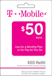 T-Mobile - $50 Refill Card - White